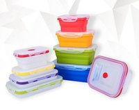 Wholesale Bento Tools Wholesale - 50pcs New Silicone Collapsible Portable Lunch Box Bento Boxes Folding Food Storage Container Lunchbox Microwave Dinnerware Tools