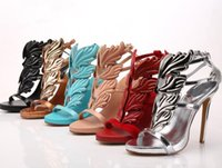 Wholesale White Leaf Applique - Hot Selling 2017 Summer Wings Leaf high heel sandals genuine leather Women Metallic Winged Gladiator Sandals Femininas Plus Size 41 42