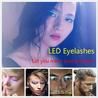 Wholesale Hallowmas Necessary LED Eyelashes Waterproof Eyelashes Multiple Flash Modes for Christmas Halloween Nightclub Decoration by DHL