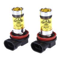 h8 sarı toptan satış-2 Adet Yüksek Güç Oto Led Işık 100 W H8 H11 Araba-Styling Altın Sarı Sis Lambası 2828 20LED 1000Lm Araba İç Işık Far Ampuller