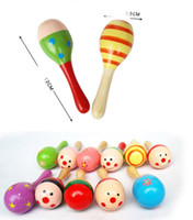 Wholesale Mini Wooden Maracas - Colorful Sand Hammer Rattle Infant Mini Wooden Maracas Child madera Musical Instrument Baby Shaker Children Gift Toy