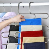 Wholesale Trousers Holder - 10PCS S-type Pants Rack Metal Trousers Hanger Clothing Store Multiple Layers Storage Pants Rack Closet Belt Holder Rack