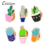 Wholesale enamel gold plated - 2017 Fashion Jewelry Colorful Enamel Pins Badge For Clothes Colorful Cartoon Brooches Succulents Plant Cactus Jacket Bag DIY Badge