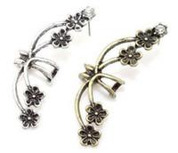küpeler sarma çiçekler toptan satış-Klip Küpe Punk Antik Kristal Bronz Metal Çiçek Kulak Manşet Wrap Klip Küpe Gotik Punk Tarzı Çiçek Çiçek kulak klip Küpe Takı