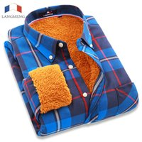 Wholesale Thick Warm Winter Mens Shirts - Wholesale- Langmeng winter warm plaid casual shirt men long sleeve dress shirts plus velvet mens fashion thick flannel shirt chemise homme