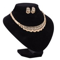 Wholesale Mixed Geometric Necklace - Brand New Punk Inlaid Crystal Statement Necklace & Earring Jewelry Sets Fashion Women Vintage Hollow Out Geometric Chokers Necklace