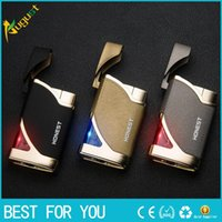 Wholesale Thin Butane Lighter - HONEST creative personality mini ultra-thin metal lighters windproof butane gas lighter jet torch lighter with gift box