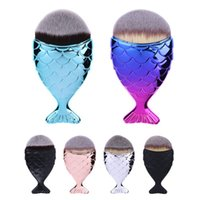 Wholesale Drop Shipping Fishing - DROP SHIP Cosmetic Mermaid Brush Professional Powder Mermaid Makeup Brushes Set Maquiagem Foundation Contour Fish Brush Make Up Tool Kits