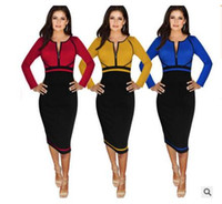 Wholesale Modern Women Office Dress - Spring Autumn Elegant Modern Patchwork Casual Design Three Quarter Sleeve Cotton Robes Women Bodycon Office Business Dress B235