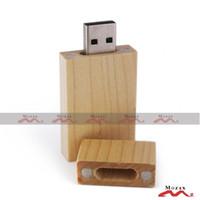 Wholesale Rectangle Driving Lights - 8GB 30 PCS Maple Wood Memory Flash USB Drive Wooden Pendrive Genuine True Storage Light Color