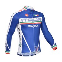 Wholesale Castelli Autumn - spring autumn Bule Castelli cycling jerseys ropa ciclismo men cycling clothing MTB Long sleeve bike jacket high quality Cycling Tops C0417