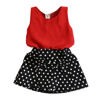 Wholesale Dh Kids Clothes - Wholesale- Summer Kids Baby Girl Clothing Set Sleeveless Chiffon Tops+Polka Dot Bowknot Mini Skirts DH
