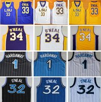 Wholesale Black Yellow Stripe Shirt - #32 Shaquille O'Neal Jersey Shaq ONeal Yellow Purple College Basketball Shirt Uniform Black White Blue Stripe 1 Penny Hardaway Jerseys
