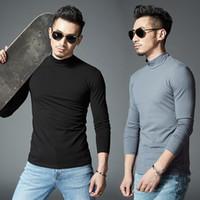 Wholesale Casual Sleeved Black For Men - T-shirts for Men 2017 Men Autumn Shirt Long Sleeved Turtleneck Mens Pure Cotton T-shirt Camisetas Hombre