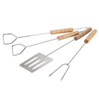 Wholesale Travel Bbq Grill - 3pcs Set Stainless Steel Barbecue Fork Tongs Skewer Sets BBQ Roasting Grill Tools Set Spatula Roasting Shovel Tongs