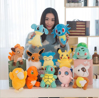 Wholesale Pokemon Doll Pikachu - Poke Plush Toys 20-23cm Pocket Monster Stuffed Animal Doll Squirtle Pikachu Charmander Baby Toy gifts 13 Designs OOA1273