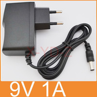 Wholesale Plug Ue - 50PCS AC 100V-240V Converter Adapter DC 9V 1A   1000mA Power Supply EU plug + DHL Free shipping