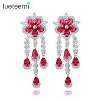 Wholesale Big Teardrop Earrings - New Arrival Big Flower Crystal Drop Earrings With Long Teardrop Tassel Statement Brincos for Women Bridal Wedding Fashion Jewelry Accessorie