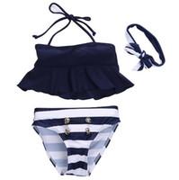 Wholesale swimming tankini - Kids Baby Girls Bikini Suit Ruffles Navy Tops Striped Tankini Swimsuit Swimwear Swimming Bow Head Band