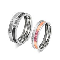 """Wholesale Steel Stamp Set - Classic Stainless Steel Crystal Couple Ring Men and Women's Wedding Ring Set """"You are my only Love"""" Stamped Ring"""