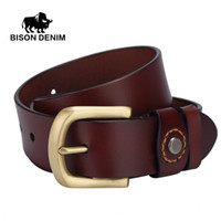 Wholesale Rock 34 - Wholesale- BISON DENIM top Genuine Leather belt for men gold Pin Buckle punk rock mens leather belts for girls ceinture cuir homme W71020
