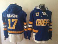 Wholesale Waterproof Sweaters - Hanson Brothers Charlestown Hockey Hoodies #17 Steve Hanson SlapShot Movie Jerseys Stitched Top Quality Hoodie Sweater