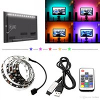 5050 DC 5V RGB LED Strip impermeável 30LED / M USB Stripes de luz de LED Flexible Neon Tape 1M 2M adicionar remoto para o fundo da TV