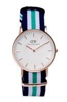 Wholesale Man Rhinestone Belt - 2017 Men Lovers Women's DW Watches Soft Nylon Strap Belt Golden Fashion Wristwatch Rhinestone Quartz Female Clock Bracelet Reloje