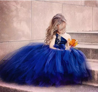 Wholesale Navy Tutus For Girls - Cute Tutu Ball Gown Flower Girl Dresses For Wedding Birthday 2017 Navy Blue Tulle One Shoulder Floor Length Kids Pageant Gowns