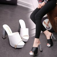 Wholesale Rough Leather Shoes - Fashion shoes outside wear high heels female rough with summer cool slippers wild 2017 spring and summer new in the sandals