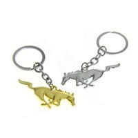 Wholesale Ford Key Fob Wholesale - 2x Chrome Polished Finishing Metal Pony Horse Badge Emblem Decorative Key Chain Fob Ring Keychain For Ford Mustang GT