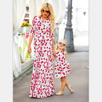 Wholesale Cherry Family - Mother dauther dresses girl cherry printed vest princess dress bohemia style womens long dress fashion new family beach clothing T4550