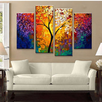 Wholesale Bright Wall Art - Bright Life Tree Picture Painting Handmade Modern Abstract Oil Painting on Canvas Wall Art Home Decoration Gift No Framed