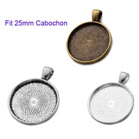 Wholesale pendant tray cabochon plated - 300 pcs Round Base Setting Tray Bezel Pendant Charm Finding,Fit 25mm Cabochon Picture Cameo,DIY Accessory