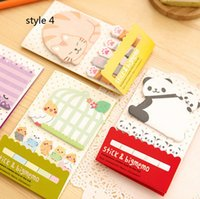 marqueur d'animal collant achat en gros de-Animal Cat Panda Mignon Kawaii Sticky Notes Post It Memo Pad Fournitures scolaires Planificateur Autocollants Paper Bookmarks Korean Paperery. 20PCS \