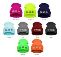 Wholesale Neon Green Beanie - 2017 BAD HAIR DAY Neon Knitted Hats For Women 21 Colors Casual Gorro Fashion Elastic Beanie Men Bonnet Winter Skullies Cap