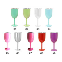 Wholesale China Wholesale Jars - 10oz Stainless Steel Wine Glass 9 Colors Double Wall Insulated Metal Goblet With Lid Rambler Colster Tumbler Red Wine Mugs 3002005