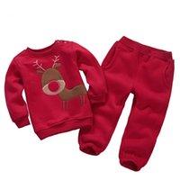 Wholesale Baby Fleece Hoodie Pants - Wholesale- 16 colors!Children Outfits Tracksuit cartoon Christmas deer Clothing baby girls Hoodie + Kid Pants Sport Suit Boys fleece Set