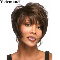 Wholesale Brown Hair Celebrities - Fashion Short Brown Sexy Wig High Quality Classical Style Wig Black Straight Synthetic Hair Full Wigs Celebrity Wig Wholesale