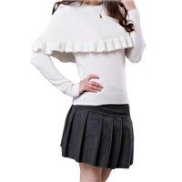Wholesale Womens Long Sweater Poncho - Wholesale- New Winter Womens Warm O-Neck Sweaters Full Sleeve Ruffles Poncho White Purple Jumpers swea-075