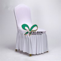 housses de chaises à bas prix achat en gros de-50pcs Sale Bonsoir Bottom Ruffled Lycra Spandex Chair Cover \ Cheap Wedding Chair Covers
