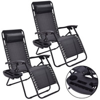 Wholesale fold lounge chair - 2PC Zero Gravity Chairs Lounge Patio Folding Recliner Outdoor Black W Cup Holder