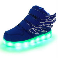 Wholesale fine light - New and new USB charging LED flash shoes The seven color flashing light cycle recharging the built-in lithium battery fine shoes and women'