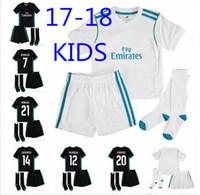 Wholesale Boys Names Top - Top quality 17 18 real Madrid children's football shirt home custom name football uniform shirt + shorts + socks