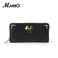 Wholesale Moon Wallet - Wholesale- MSMO New Fashion Sailor Moon Samantha Vega Luna Cat Wallet Kawaii Long Purse Cute Ladies PU Leather Wallet Black White 8 Color