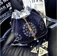 sac seau en toile denim vintage achat en gros de-Vente en gros - Sacs à main seau vintage national vintage femmes coréennes Diamond Diamond Pearl en toile épaule unique sacs en denim diamant