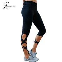 Wholesale Strech Leggings - Wholesale- CHRLEISURE 2 Colors S-L Women Black Cotton Active Leggings Strech Fashion Adventure Time Legging Quick Drying Leggings Women