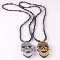Wholesale Hip Hop Beaded Acrylic Necklaces - Wholesale Hip Hop Good Quality acrylic skull sports man Palms Pendants Rosary Bead Necklaces good wood necklace gold silver