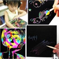 Wholesale Christmas Art Paint - 2017 New Arrive 10 Sheets 16K Colorful Scratch Art Paper Magic Painting Paper Plus Drawing Stick Kids Christmas Gift Toys