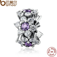 Wholesale Charms For Bracelets Spacer Beads - Wholesale-BAMOER 100% 925 Sterling Silver Jewelry FORGET ME NOT SPACER Purple Charms for Bangle Bracelet Beads Jewelry Making PAS286